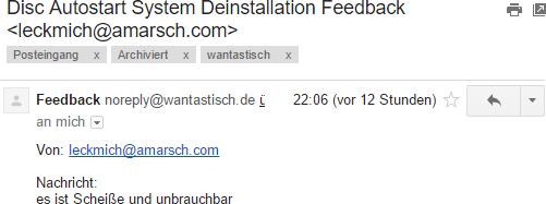 Disc Autostart System Feedback Mail