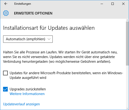 Windows 10 - Updates zurückstellen